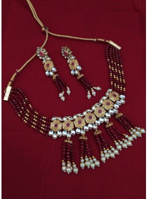 Gold and Maroon Engagement Necklace Set
