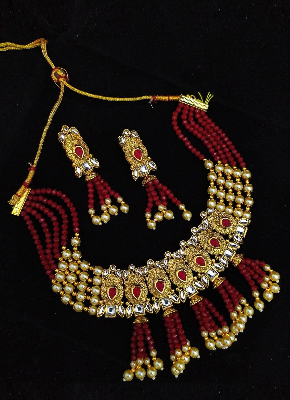 Gold and Maroon Moti Necklace Set