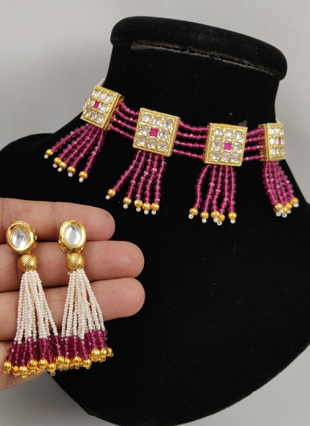 Gold and Pink Color Necklace Set