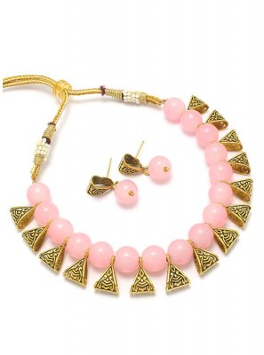 Gold and Pink Engagement Necklace Set