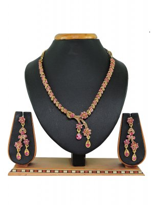Gold and Pink Stone Work Ceremonial Necklace Set