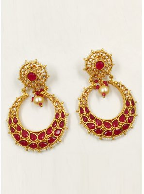 Gold and Red Moti Ear Rings