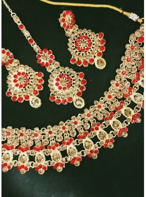 Gold and Red Stone Work Mehndi Necklace Set
