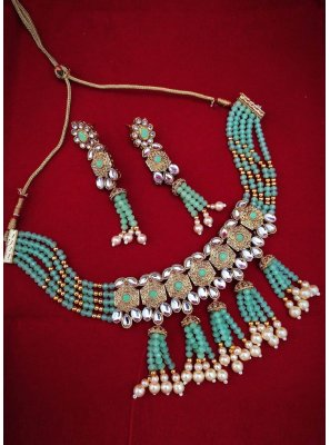 Gold and Teal Color Necklace Set