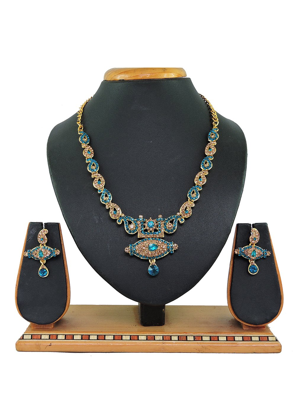Gold and Teal Stone Work Ceremonial Necklace Set