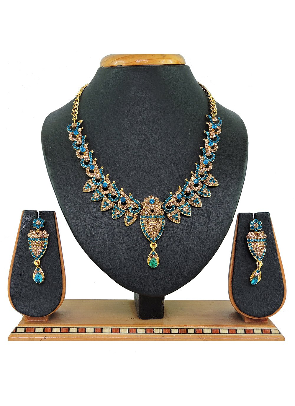 Gold and Teal Stone Work Mehndi Necklace Set