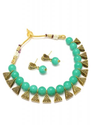 Gold and Turquoise Moti Festival Necklace Set