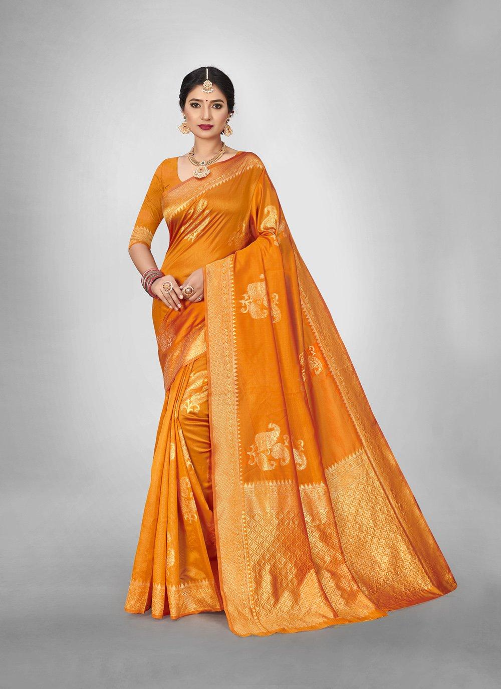 Gold Art Silk Engagement Silk Saree