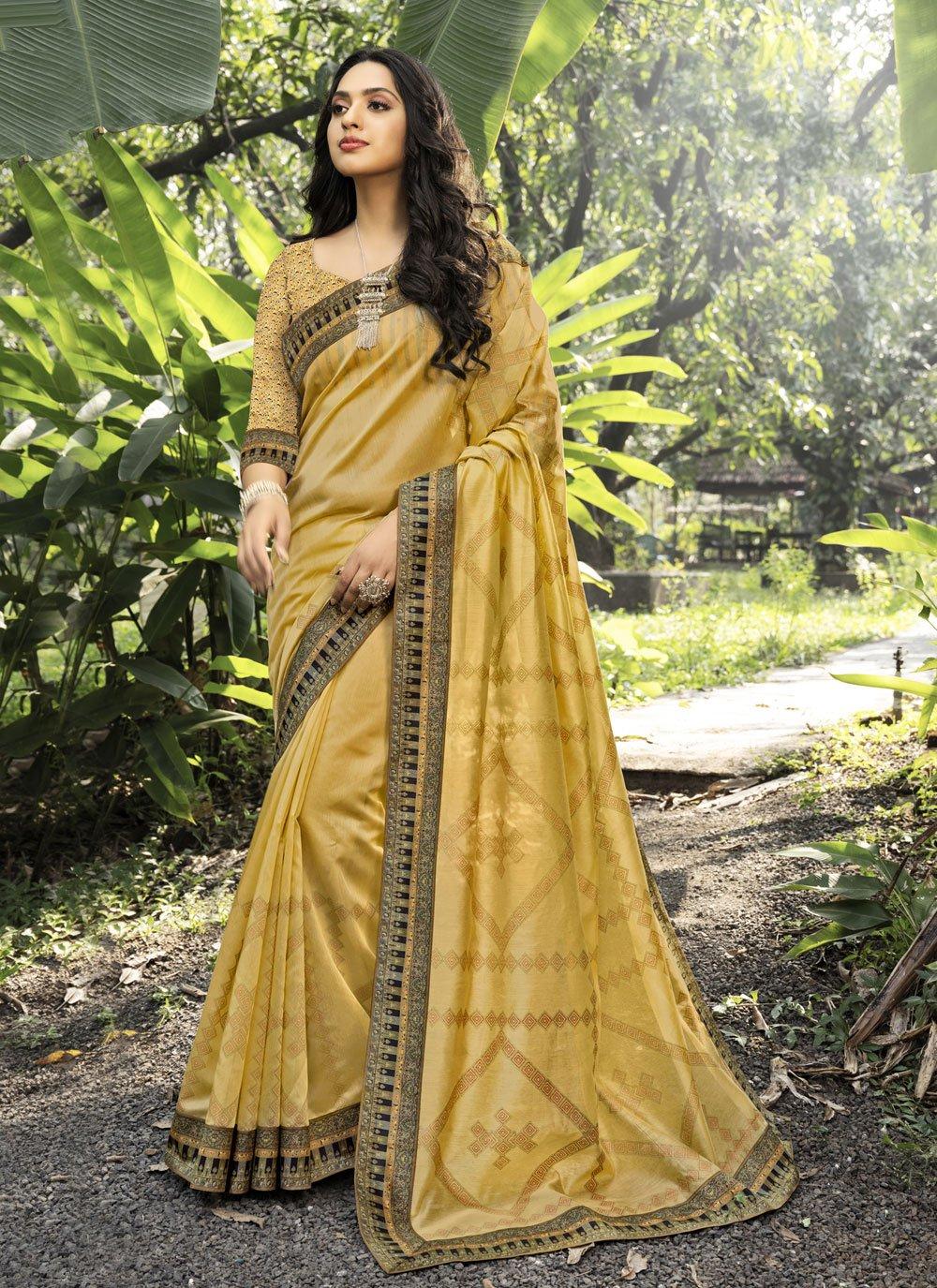 Gold Chanderi Digital Print Designer Traditional Saree
