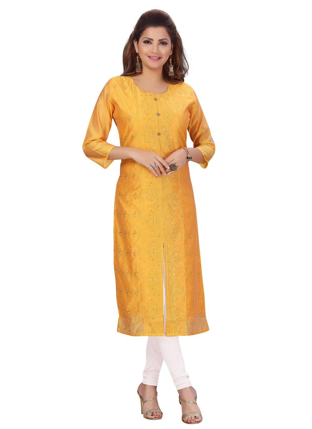 Gold Chanderi Party Wear Kurti