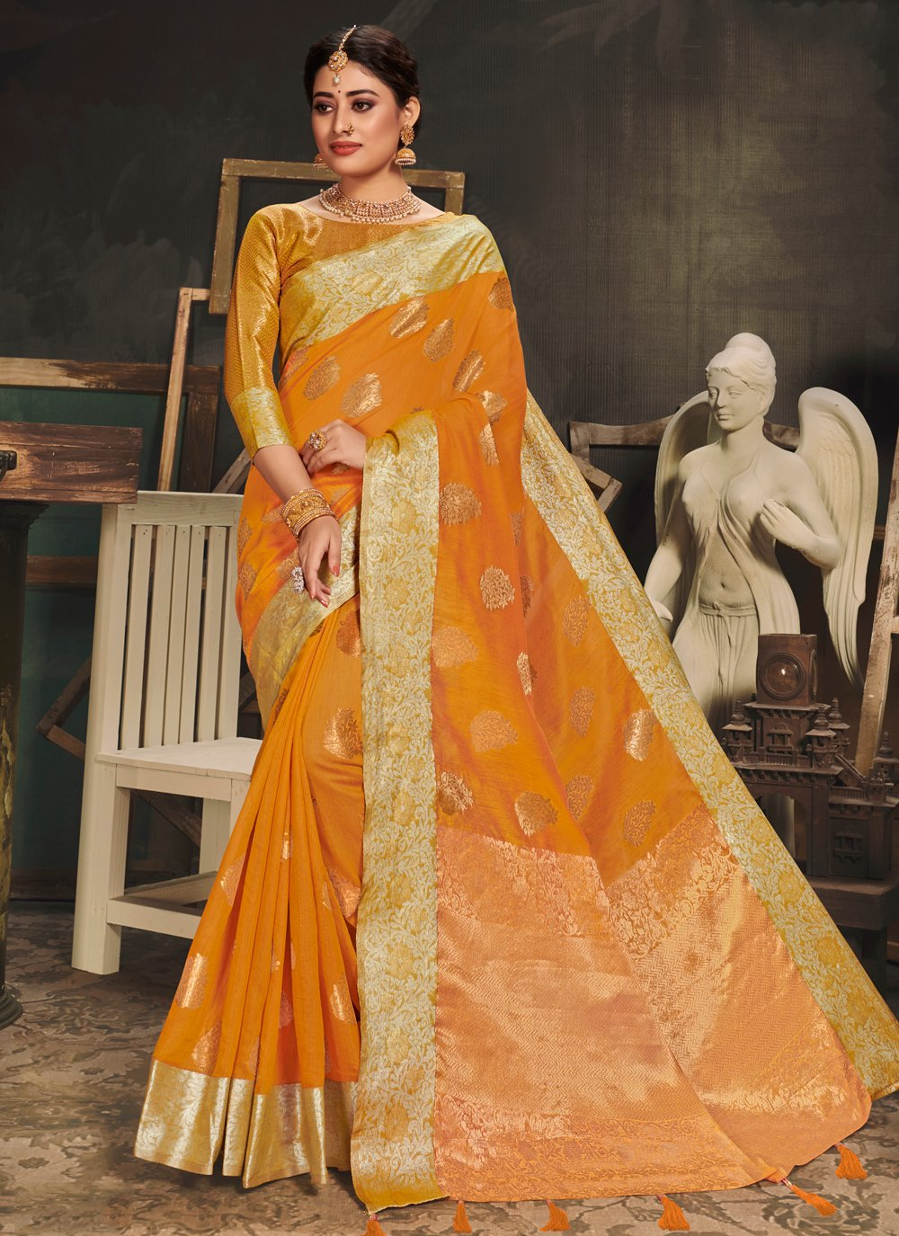 Gold Cotton Silk Woven Designer Traditional Saree