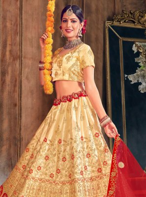 Gold Embroidered A Line Lehenga Choli