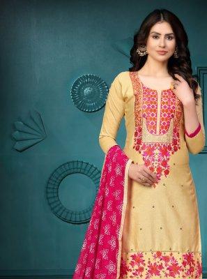 Gold Embroidered Cotton Churidar Salwar Suit