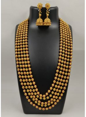 Gold Moti Party Necklace Set