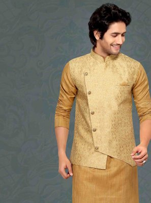 Gold Plain Kurta Payjama With Jacket