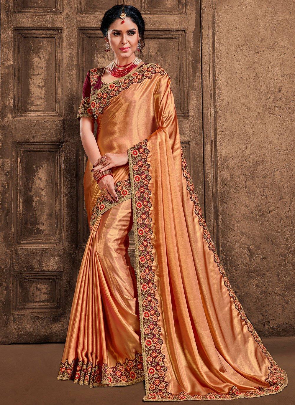 Gold Poly Silk Designer Saree