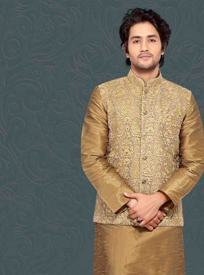 Gold Poly Silk Engagement Kurta Payjama With Jacket