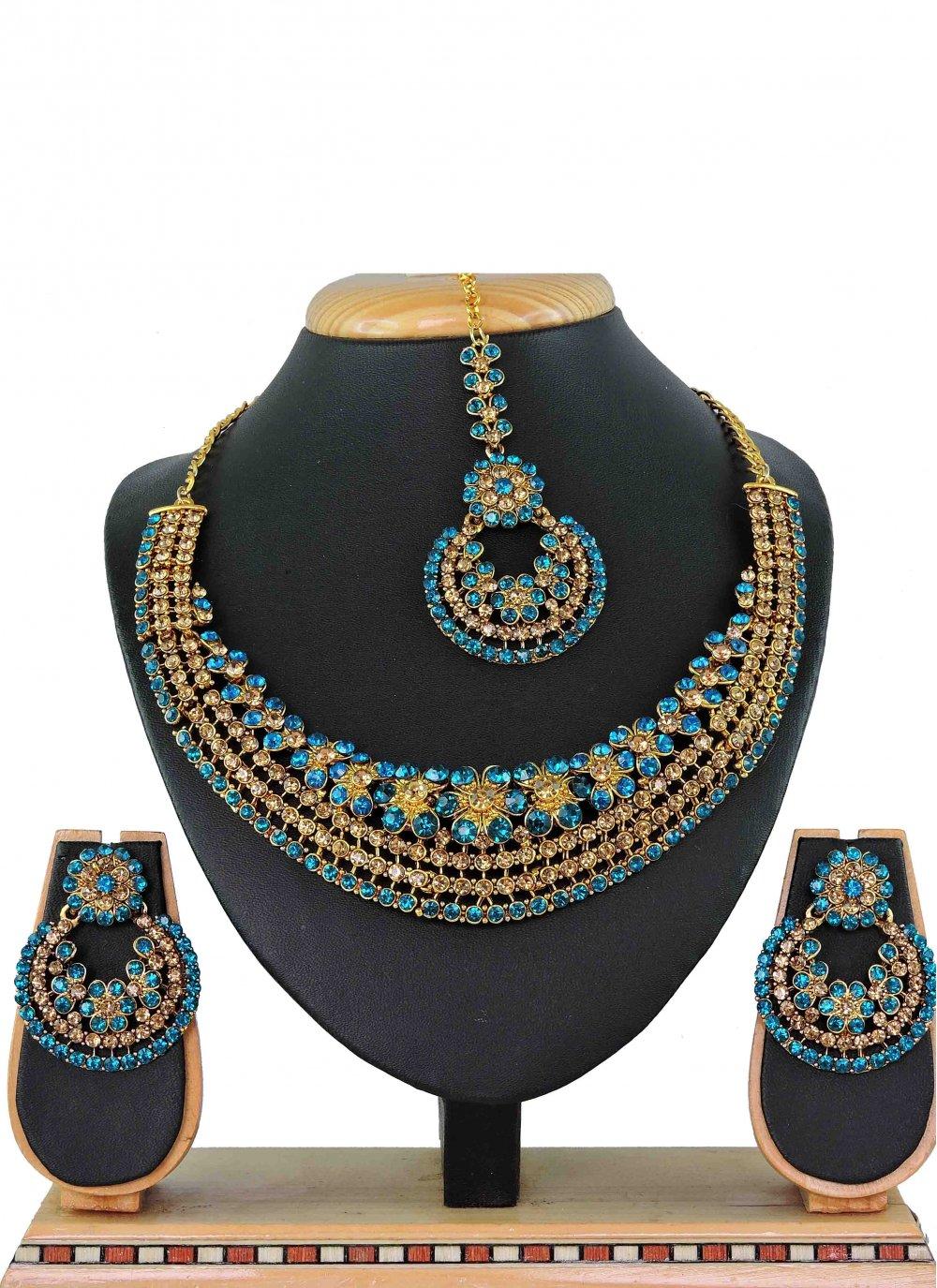 Gold Stone Work Ceremonial Necklace Set