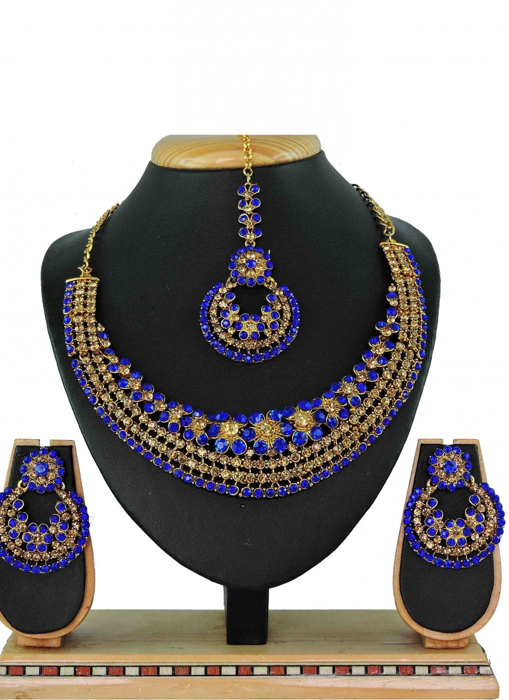Gold Stone Work Mehndi Necklace Set