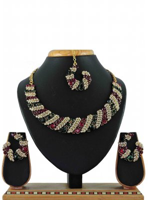 Gold Stone Work Reception Necklace Set