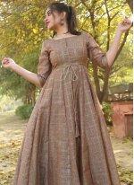 Gown Foil Print Chanderi in Brown