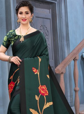 Green Abstract Print Faux Crepe Printed Saree
