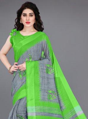 Green and Grey Printed Saree