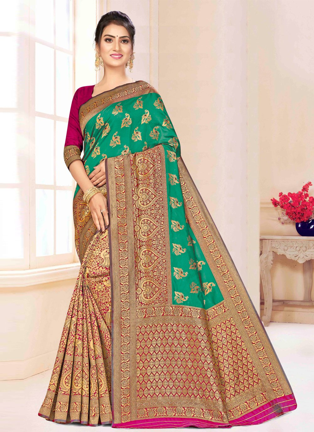 Green and Magenta Banarasi Silk Bollywood Saree