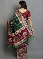 Green and Magenta Color Designer Traditional Saree