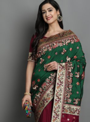 Green and Magenta Color Designer Traditional Saree