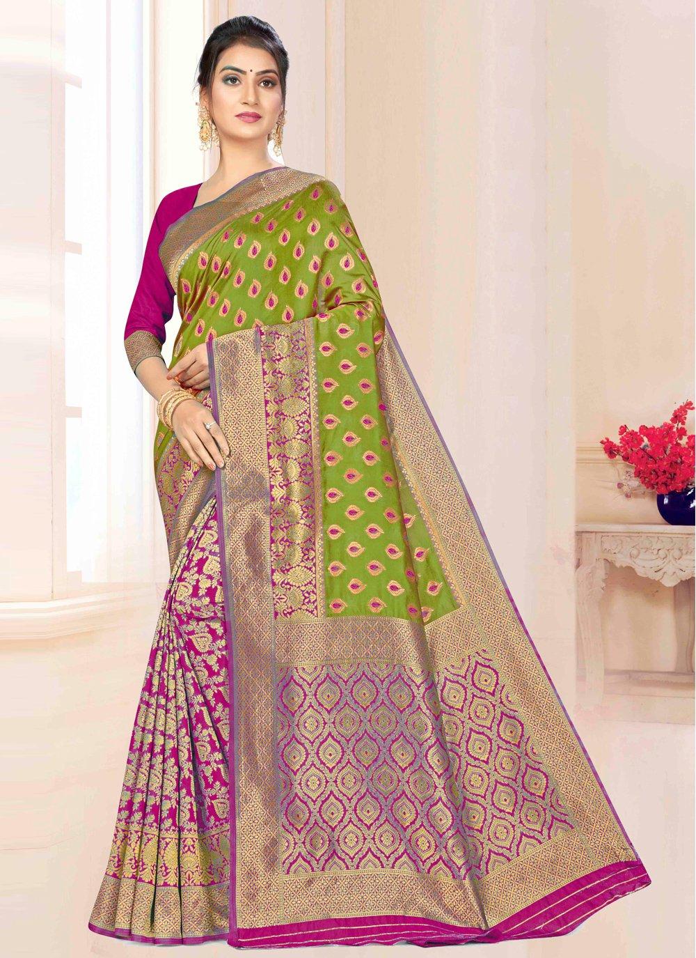 Green and Magenta Festival Banarasi Silk Bollywood Saree
