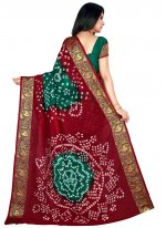 Green and Maroon Art Silk Patch Border Traditional Saree