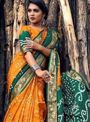 Green and Mustard Festival Viscose Bandhani Saree