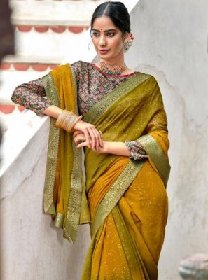 Green and Mustard Georgette Bollywood Saree