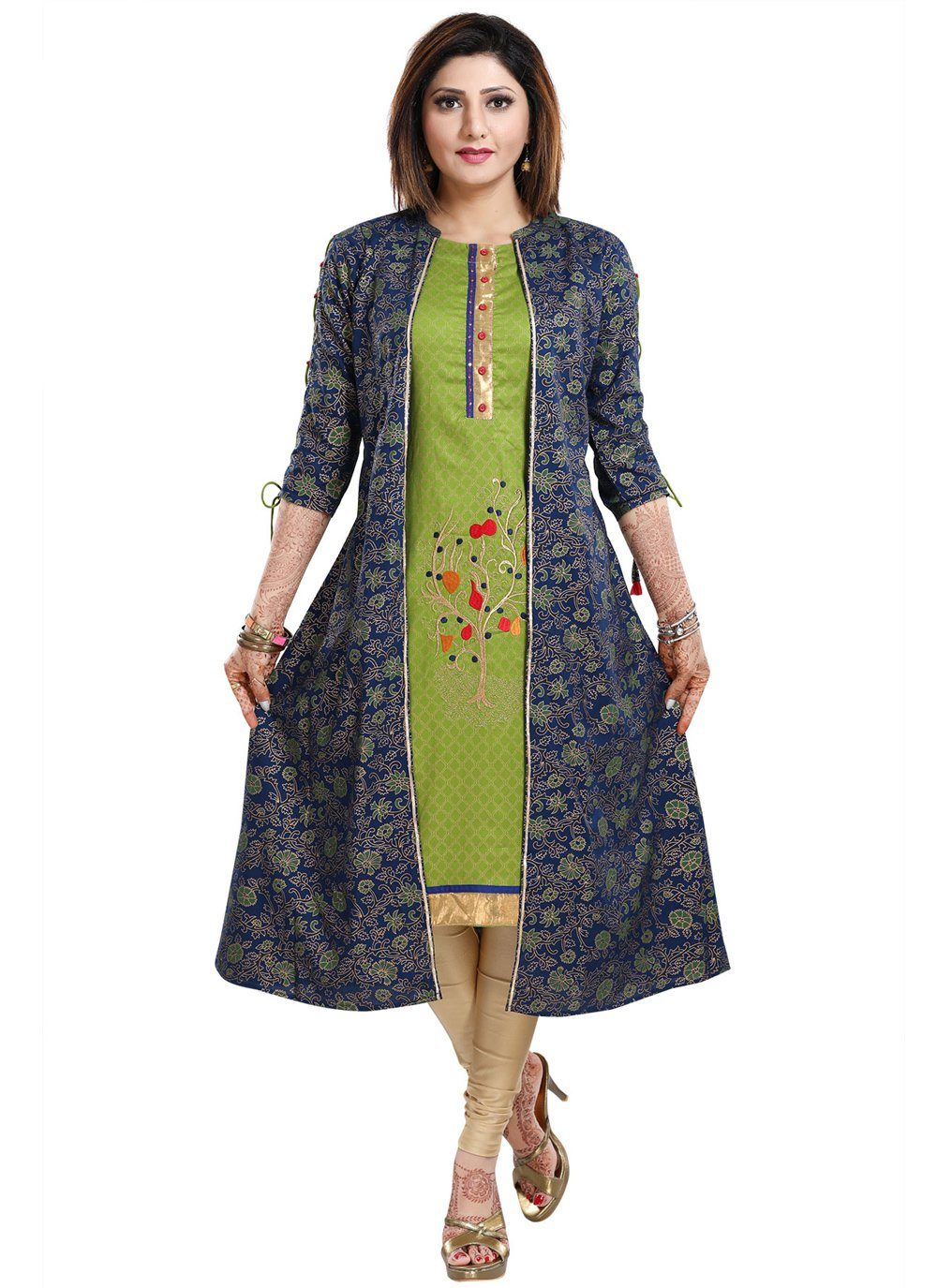 Green and Navy Blue Color Party Wear Kurti