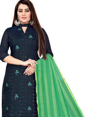 Green and Navy Blue Festival Churidar Suit