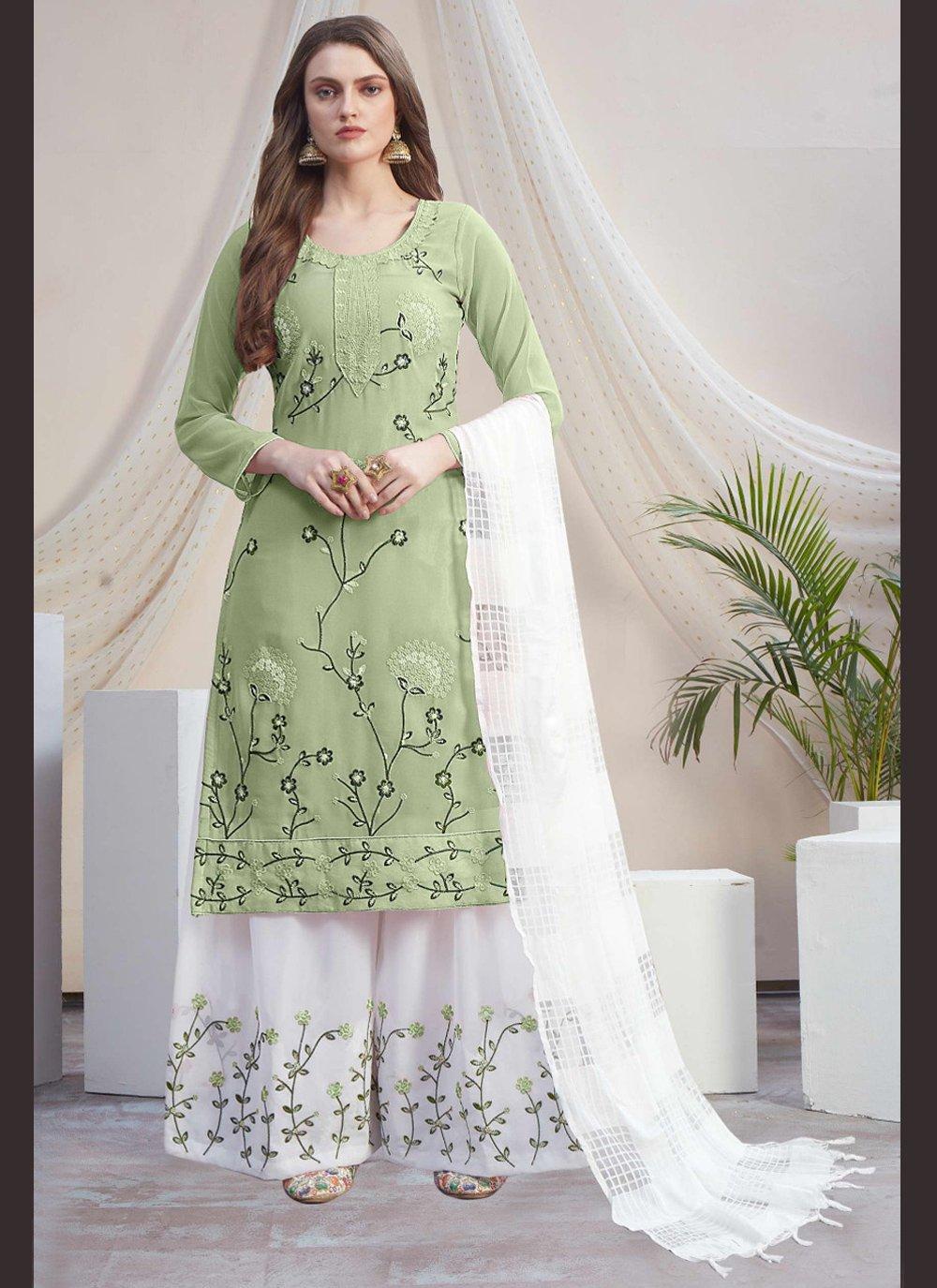 Green and Off White Color Designer Palazzo Salwar Kameez
