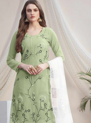 Green and Off White Color Designer Palazzo Salwar Kameez