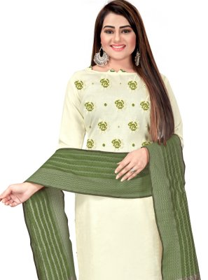 Green and Off White Cotton Festival Churidar Suit