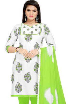Green and Off White Cotton Print Churidar Suit