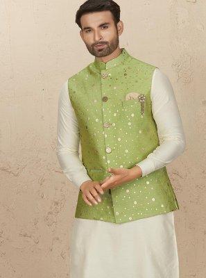 Green and Off White Embroidered Art Silk Kurta Payjama With Jacket