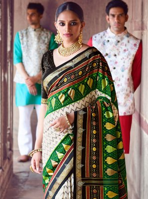 Green and Off White Patola Silk  Designer Saree