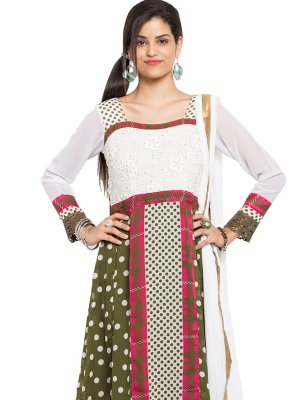 Green and Off White Polka Dotted Faux Georgette Readymade Anarkali Salwar Suit