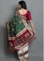 Green and Off White Silk Designer Traditional Saree