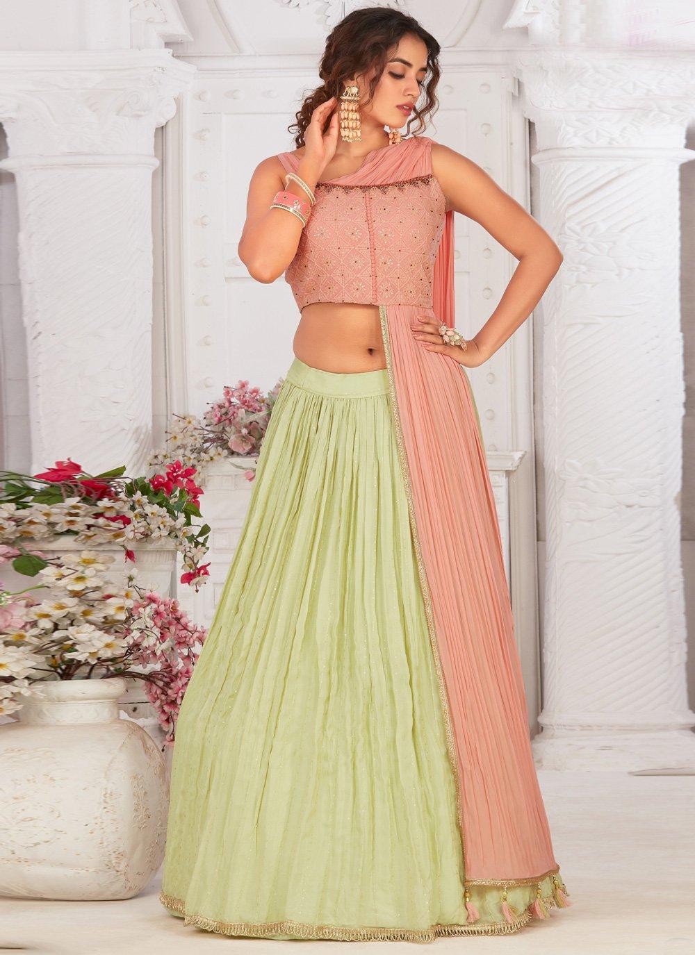 Green and Pink Fancy Georgette Readymade Lehenga Choli