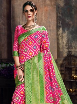 Green and Pink Poly Silk Ceremonial Designer Traditional Saree