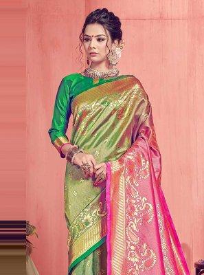Green and Pink Weaving Art Silk Traditional Designer Saree