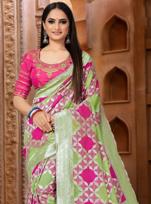 Green and Pink Weaving Classic Designer Saree