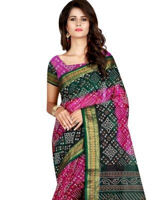 Green and Rani Printed Traditional Saree