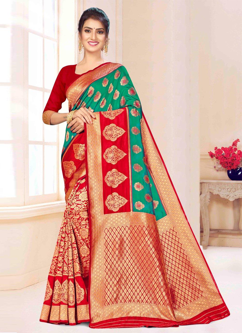 Green and Red Banarasi Silk Contemporary Saree